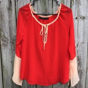 Patterson J Kincaid Red and Peach Blouse Size S